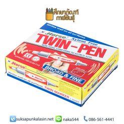 ปากกามาร์คเกอร์ (ปากกาเคมี) 2 หัว (แพ็ค12ด้าม) แดง ตราม้า