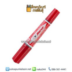 ปากกามาร์คเกอร์ (ปากกาเคมี) 2 หัว แดง ตราม้า