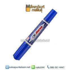 ปากกามาร์คเกอร์ (ปากกาเคมี) 2 หัว น้ำเงิน ตราม้า
