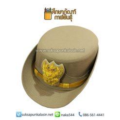 หมวกหม้อตาล หมวกข้าราชการหญิง สีกากี หน้าครุฑ ปักดิ้น