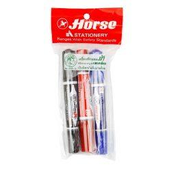 ปากกามาร์คเกอร์ 2 หัว (แพ็ค3ด้าม) คละสี ตราม้า