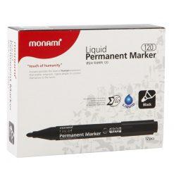 ปากกามาร์คเกอร์ 2.0 มม. ดำ (แพ็ค12ด้าม) 15181A โมนามิ Liquid 120