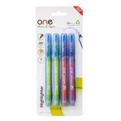 ปากกาเน้นข้อความ คละสี (แพ็ค4ด้าม) ONE HY253200