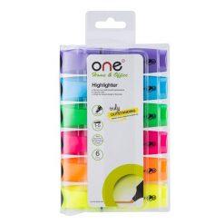 ปากกาเน้นข้อความ คละสี (แพ็ค6ด้าม) ONE AH636