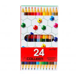 COLLEEN สีไม้คอลลีน 2 หัว 12 ด้าม 24 สี ( ด้ามเหลี่ยม )