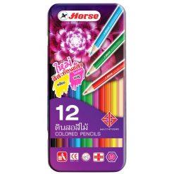 ดินสอสีกล่องเหล็ก 12 สี ตราม้า 2080
