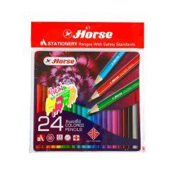 ดินสอสีกล่องเหล็ก 24 สี ตราม้า 2080