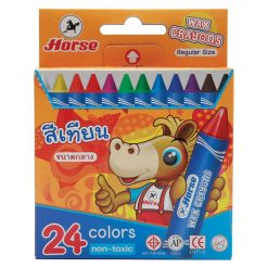 สีเทียนขนาดกลาง กล่องกระดาษ กล่อง24สี ตราม้า