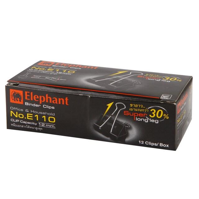 คลิปดำ 32 มม. (กล่อง12ตัว) ตราช้าง E110
