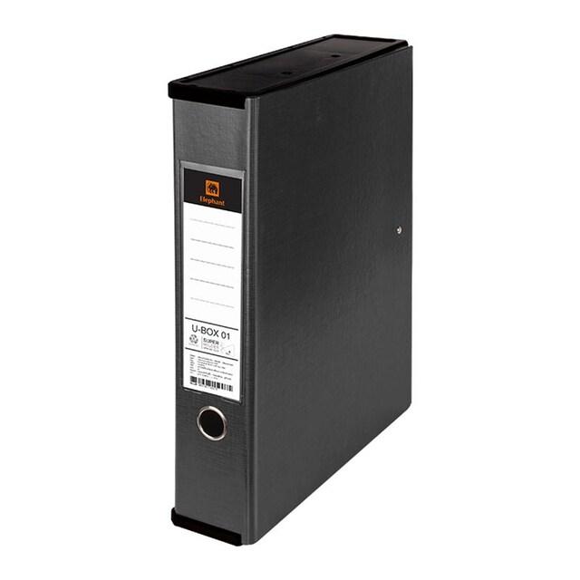 แฟ้มกล่องอเนกประสงค์ A4 สีดำ ตราช้าง U-BOX01