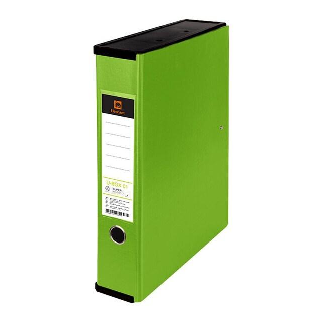 แฟ้มกล่องอเนกประสงค์ A4 เขียวมะนาว ตราช้าง U-BOX01