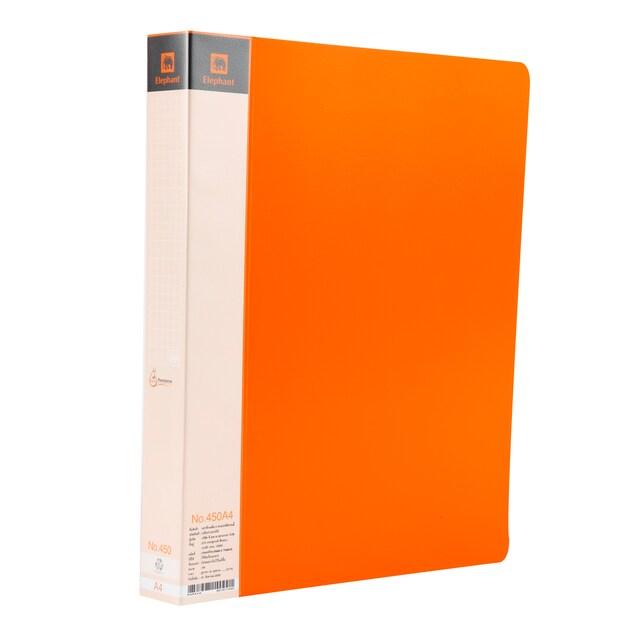 แฟ้ม 2 ห่วง 450A A4 ส้ม ตราช้าง PP Trendy
