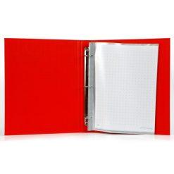 แฟ้มโชว์เอกสาร 3 ห่วง A4 สัน 5 ซม. แดง ตราช้าง 444