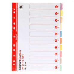 อินเด็กซ์กระดาษการ์ด (1-10) 10 สี ตราช้าง 310