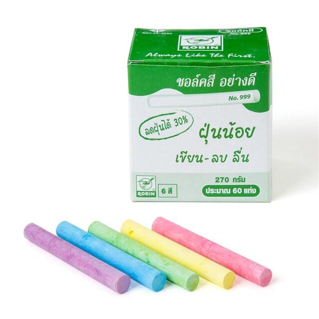 ชอล์กสี (กล่อง 60 แท่ง) โรบิน 999