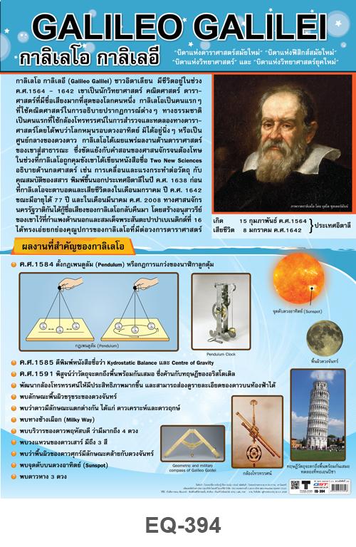 โปสเตอร์กระดาษเรื่องกาลิเลโอ กาลิเลอี #EQ-394 แผ่นภาพโปสเตอร์สื่อการเรียนรู้ ประกอบการศึกษา