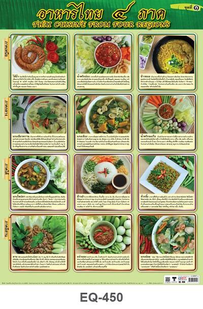 โปสเตอร์กระดาษ อาหารไทย4ภาค #EQ-450 แผ่นภาพโปสเตอร์สื่อการเรียนรู้ ประกอบการศึกษา