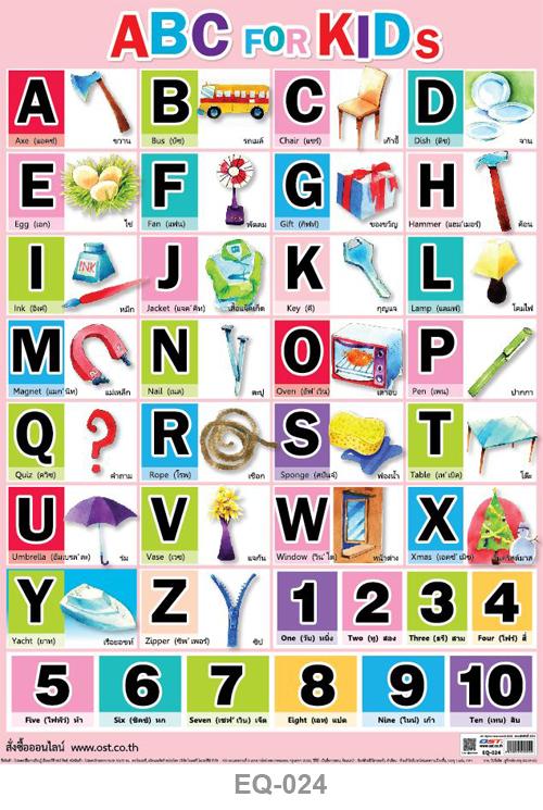 โปสเตอร์กระดาษ ABC for Kid #EQ-024 แผ่นภาพโปสเตอร์สื่อการเรียนรู้ ประกอบการศึกษา