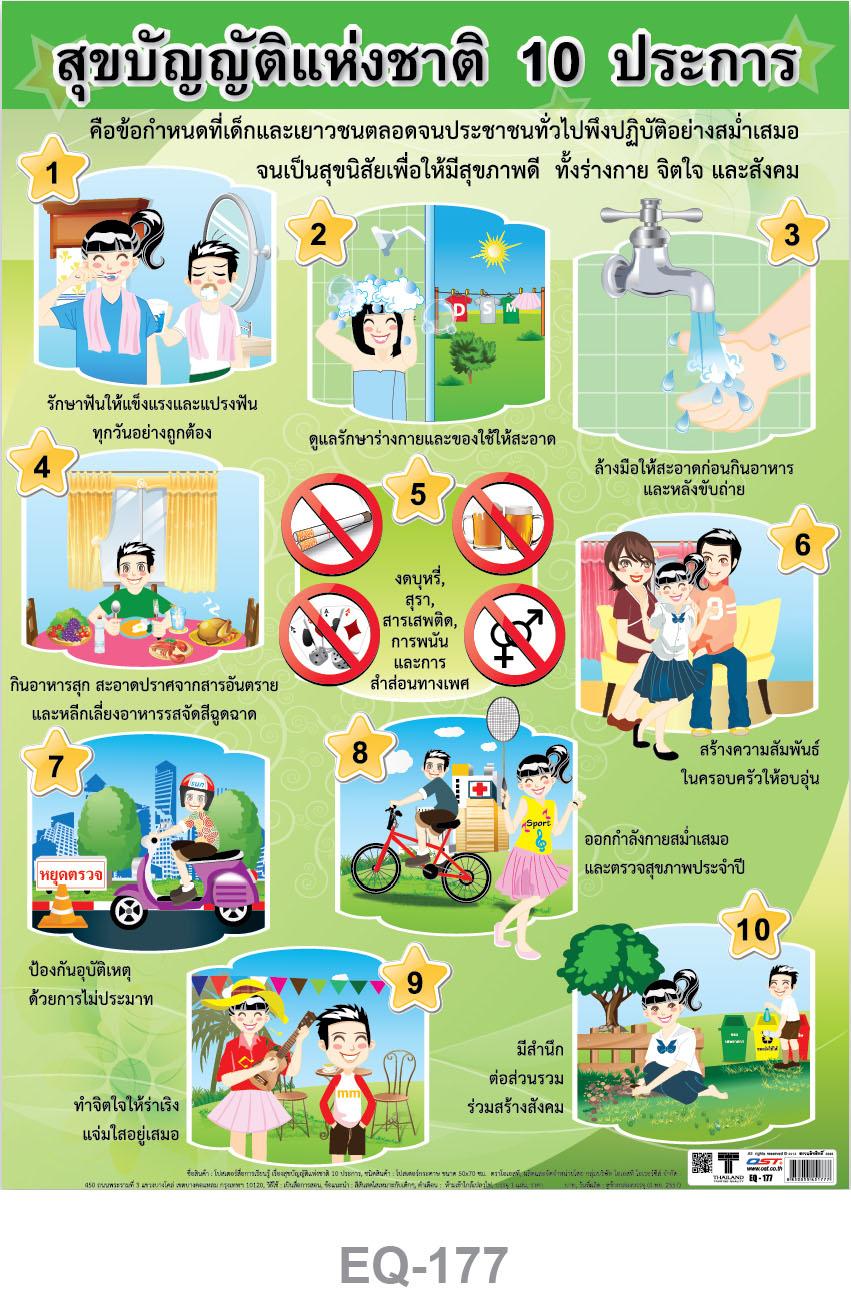 โปสเตอร์กระดาษ สุขบัญญัติ 10 ประการ #EQ-177 แผ่นภาพโปสเตอร์สื่อการเรียนรู้ ประกอบการศึกษา